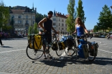 In Ljubljana, the capital of Slovenia, I met another touring cyclist; David from Hungary who later toured South America